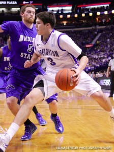 Doug McDermott looks for a lane to drive for a bucket in Saturday's win over Indiana State. (Adam Streur/WBR)