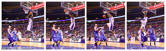 Nevin Johnson goes up for a huge second-half dunk. (Mike Spomer/WBR)