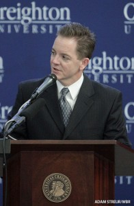 Kevin Sarver introduces the Fox Sports announcement of the Big East Conference agreement. (Adam Streur/WBR)