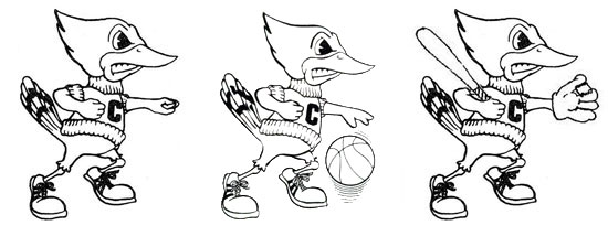 Three variations of the 1970s-era Billy Bluejay mascot. (Images courtesy Creighton University Archives)