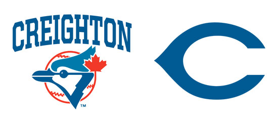 "Left, the ""Toronto"" style Bluejay that was used by the baseball team during their late-80s and early-90s era. Right, the ""Wishbone C"" logo."