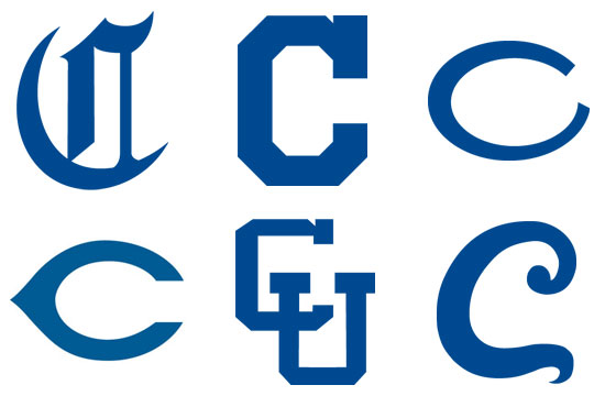 "Various logos incorporating the letter ""C"" through the years. (Images courtesy Creighton University Archives)"