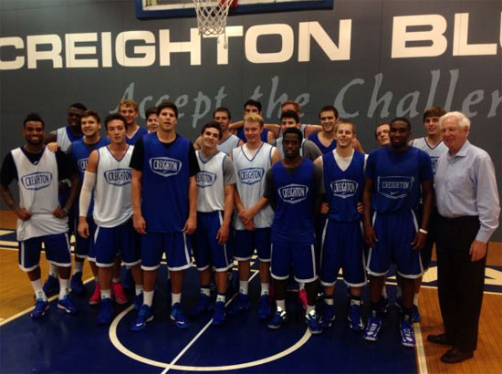 Fox's Bill Raftery visited practice on Wednesday. (Photo courtesy @BluejayMBB Twitter)