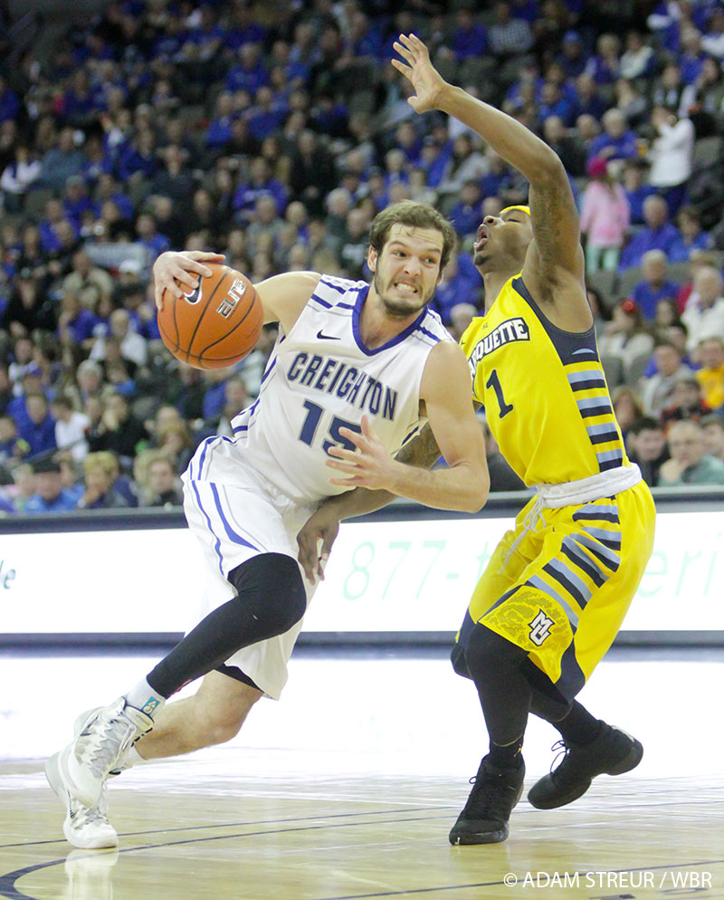 Ricky Kreklow drives against Marquette on Saturday. (Photo by Adam Streur for WBR)